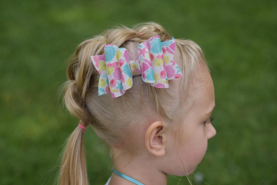 Stacked Rosie Style Bow || Seashells Jelly Bow