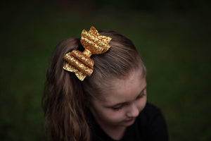 Stacked Rosie Style Bow || Orange Delight Glitter