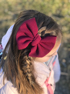 Large Julia Messy Bow Style Bow || Burgundy