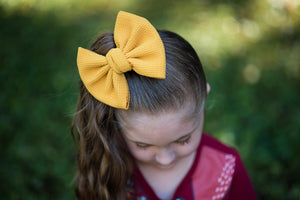 Large Julia Messy Bow Style Bow || Mustard Yellow
