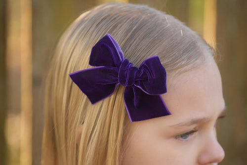 Large Timber Bows || Deep Purple Velvet Timber Bow Style