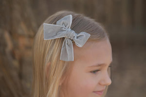 Large Timber Bows || Gray Velvet Timber Bow Style