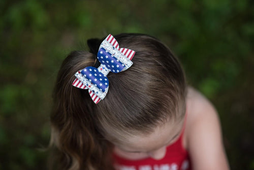 Stacked Izzy Style Bow || Stars And Stripes