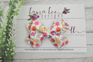 Scalloped Margo Style Bow || Jazzy Floral Vegan Leather
