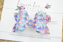 Stacked Izzy Style Bow || Jewel Tone Mermaid Scales Vegan Leather