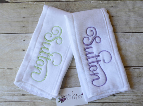 Personalized Burp Cloth Set || Singe Name Embroidered Burp Cloth