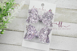 Pippy Style Pigtail Bow Set || Lavender Mist Glitter