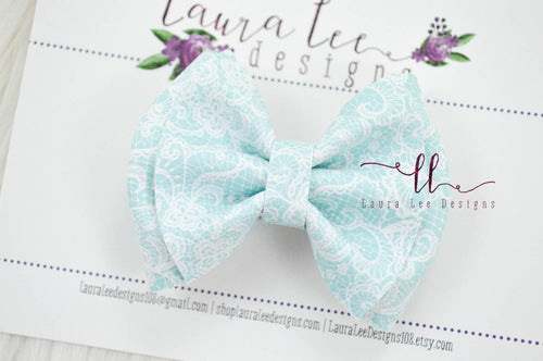Little Millie Bow Style || Blue Lace Print Vegan Leather