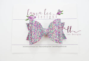 Medium Stacked Sabrina Style Bow || Mermaid Lagoon Glitter