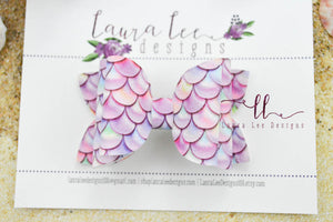 Stacked Izzy Style Bow || Mermaid Scales Vegan Leather