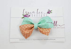 Nea Bow Style || Mint Chocolate Chip Icecream Cone Vegan Leather
