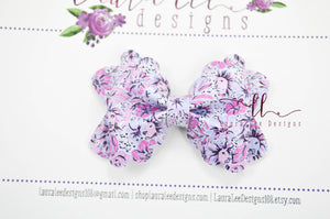 Mini Scalloped Margo Style Bow || Purple Lions Vegan Leather