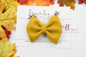 Millie Bow Style || Mustard Suede Vegan Leather
