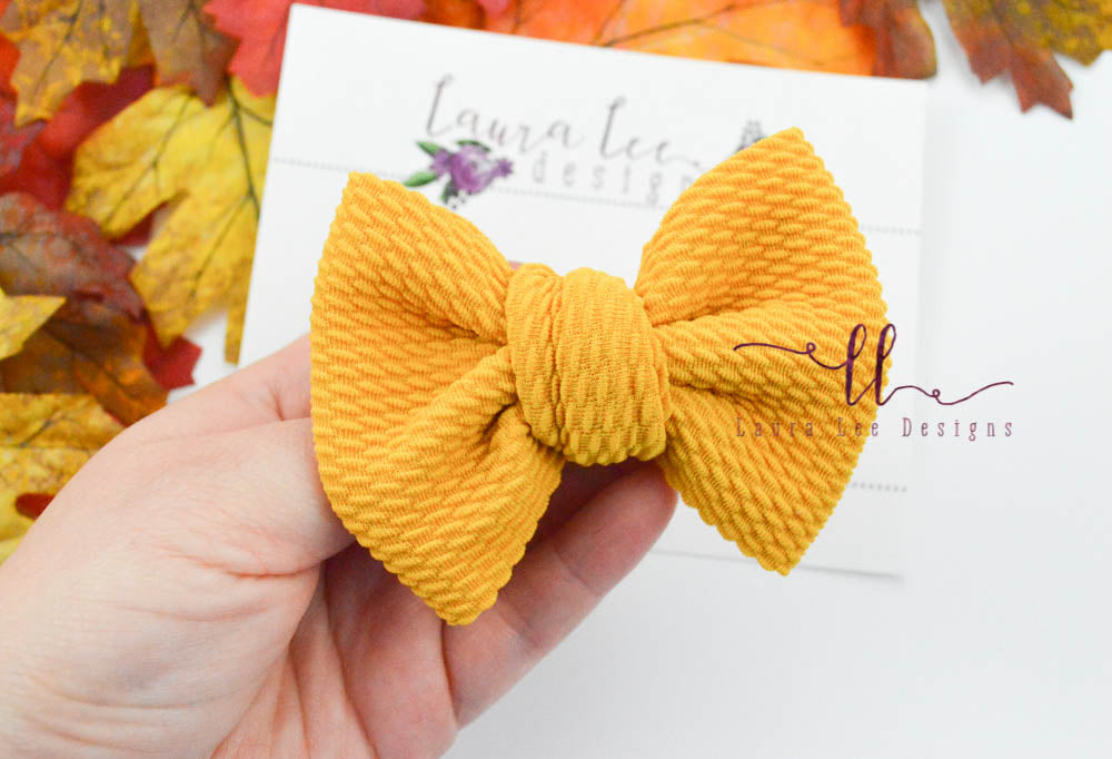Small Julia Messy Bow Style Bow || Mustard Yellow