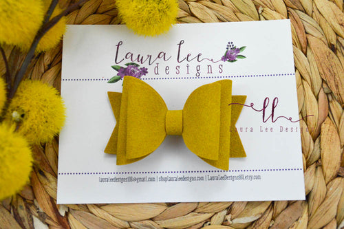 Medium Stacked Sabrina Style Bow || Mustard Yellow Suede Vegan Leather
