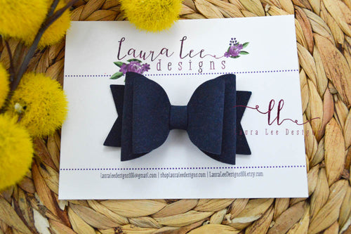 Medium Stacked Sabrina Style Bow || Navy Blue Suede Vegan Leather
