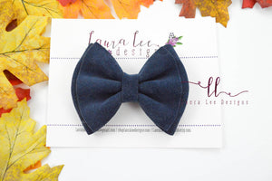 Millie Bow Style || Navy Blue Rough Suede