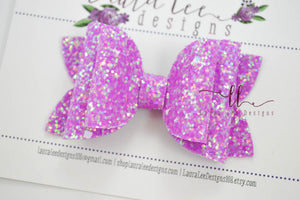 Izzy Stacked Style Bow || Neon Purple Brilliance Glitter