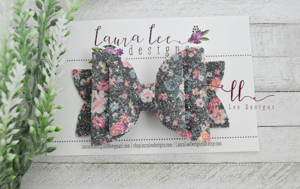 Rosie Style Bow || Not Your Grandma's Floral Glitter