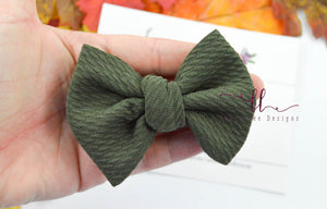 Small Julia Messy Bow Style Bow || Olive Green
