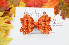 Stacked Rosie Style Bow || Orange Chunky Glitter