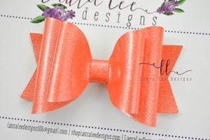 Medium Stacked Sabrina Style Bow || Orange Glitter Patent Vegan Leather