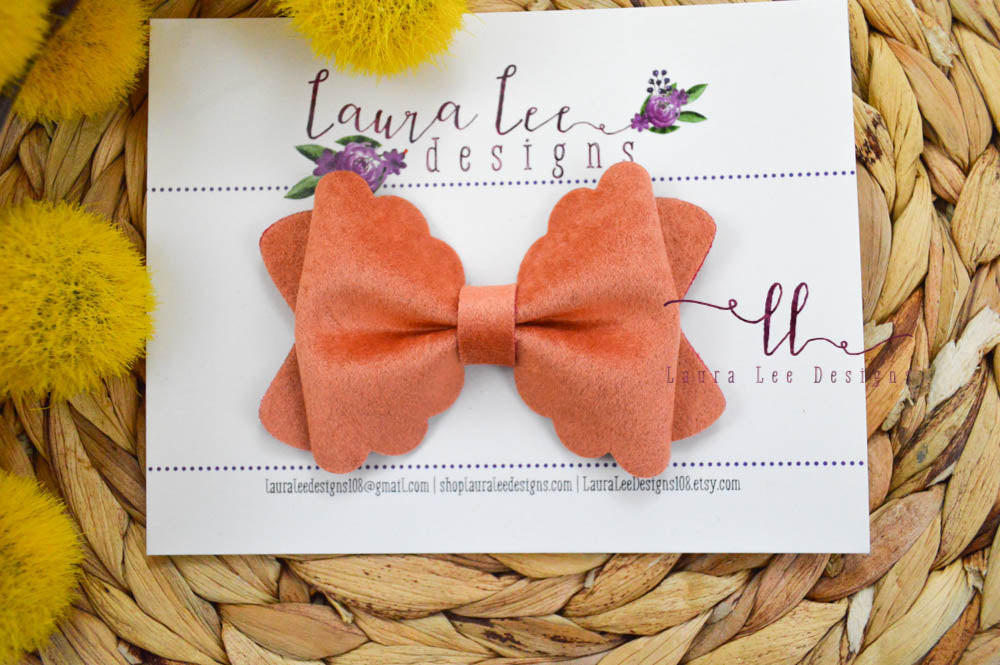 Scalloped Margo Style Bow || Orange Velvet