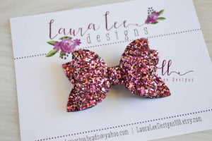 Winnie Style Bow || Palace Pink Glitter Bow || You Choose Nylon Headband or Clip || Classic Hair Bow