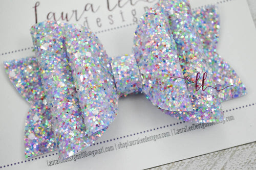 Stacked Rosie Style Bow || Periwinkle Prism Glitter