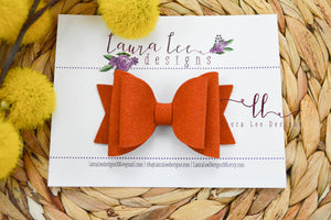Medium Stacked Sabrina Style Bow || Pumpkin Orange Suede Vegan Leather