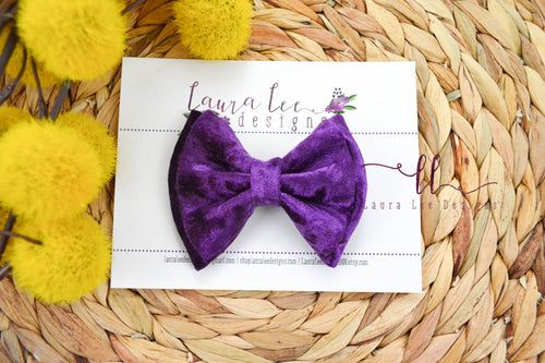 Millie Bow Style || Purple Crushed Velvet