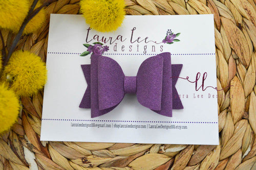 Medium Stacked Sabrina Style Bow || Purple Suede Vegan Leather