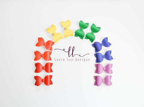 Pippy Style Bow SET || Set of 6 Rainbow Vegan Leather Bows