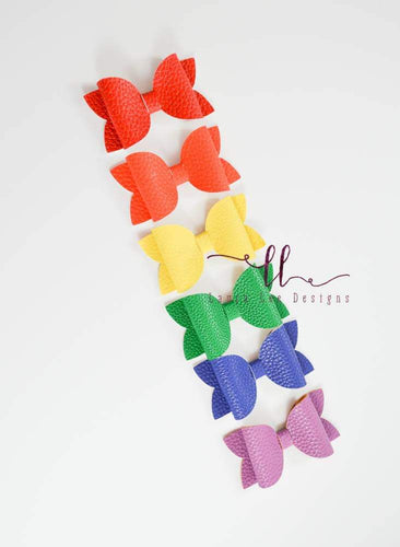 PREORDER || Winnie Style Bow SET || Set of 6 Rainbow Vegan Leather Bows