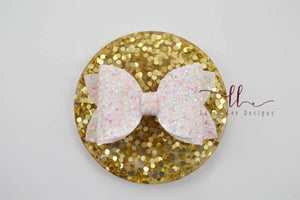 Stacked Izzy Style Bow || White Sugar Rush Glitter