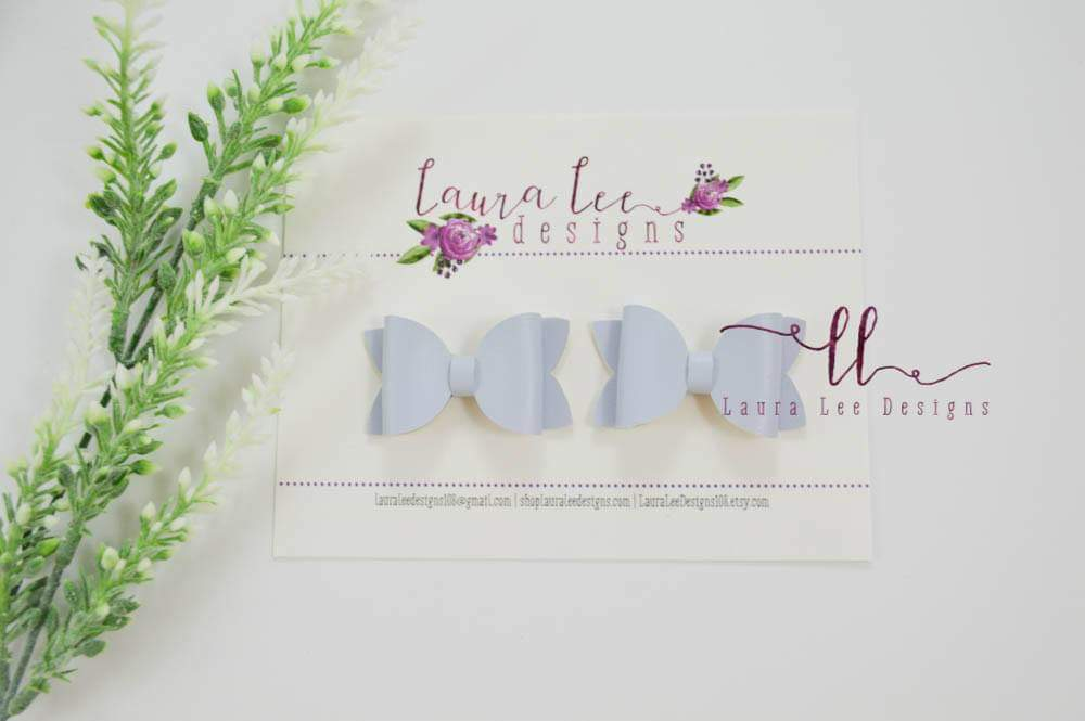 Pippy Style Pigtail Bow Set || Powder Blue Solid Vegan Leather Bows