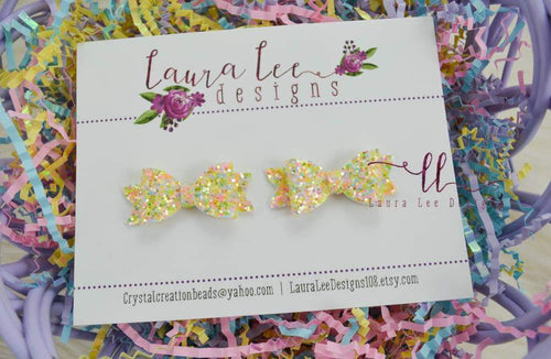 Pixie Style Pigtail Bow Set || Spring Blooms Glitter || Mini Bows || Piggy Bows