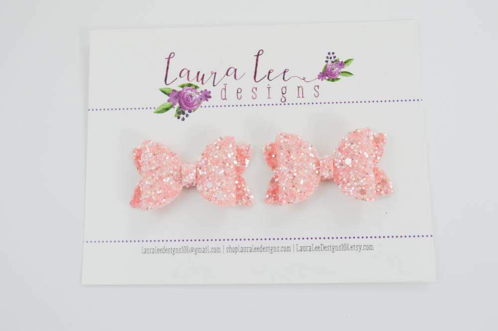Pippy Style Pigtail Bow Set || Light Pink Sherbert Glitter Bows