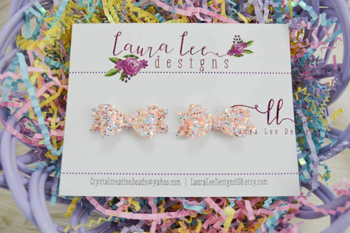 Pixie Style Pigtail Bow Set || Peach Blossom Glitter || Mini Bows