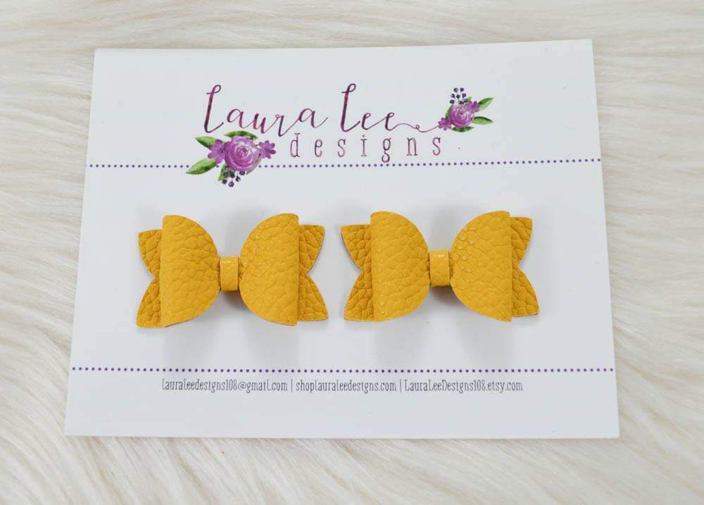 Pippy Style Pigtail Bow Set || Mustard Vegan Leather Bows