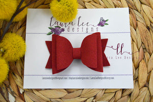 Medium Stacked Sabrina Style Bow || Red Suede Vegan Leather