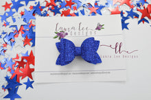 Stacked Winnie Style Bow || Royal Blue Glitter Felt