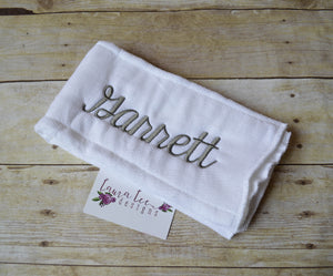 Personalized Burp Cloth || Singe Name Embroidered Burp Cloth