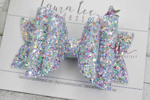 Stacked Rosie Style Bow || Sky Blue Prism Glitter
