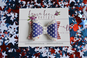 Annie Style Bow || Stars and Stripes Faux Leather and USA Glitter Bow || Choose Nylon Headband or Clip