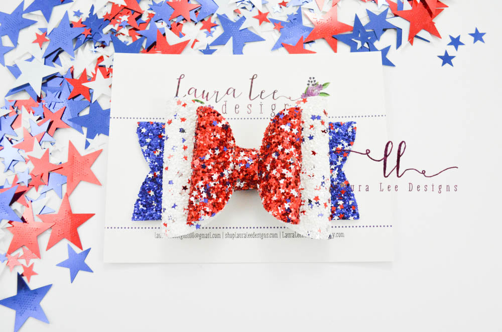 Stacked Rosie Style Bow || Star Spangled Banner Glitter