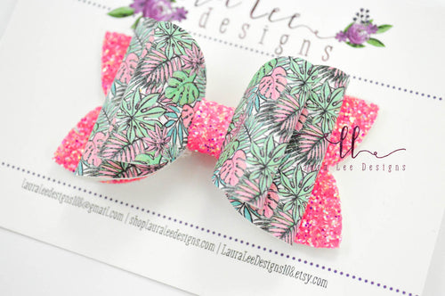 Izzy Stacked Style Bow || Tropical Leaves