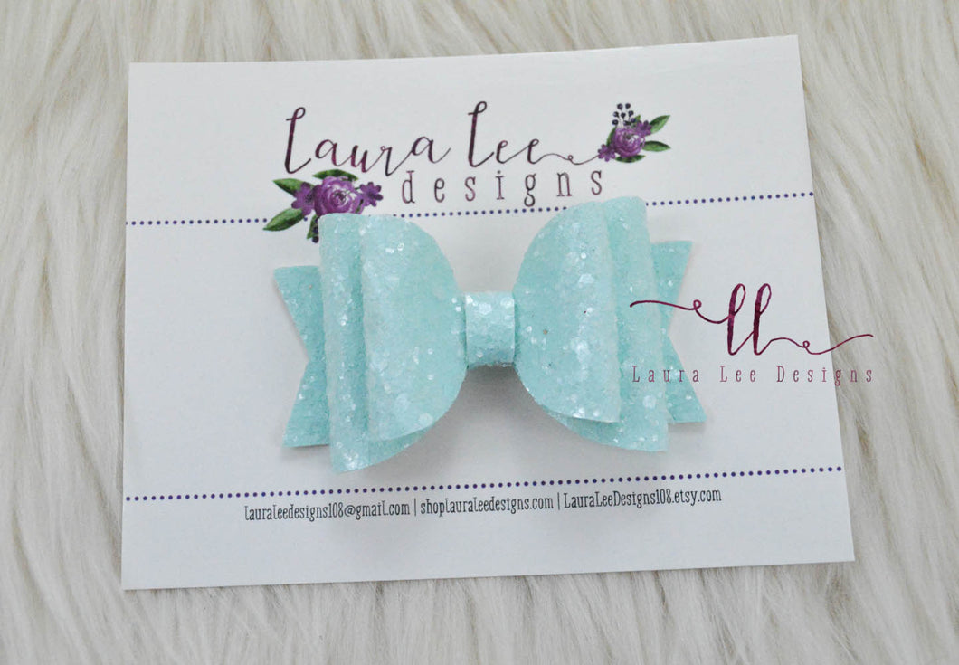 Medium Stacked Sabrina Style Bow || Mint Blue Sugar Glitter