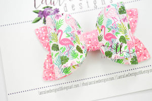 Izzy Stacked Style Bow || Tropical Flamingos