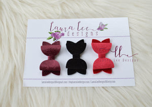 Pippy Style Bow Set || Velvet Faux Leather and Glitter Bow || Velour Bows